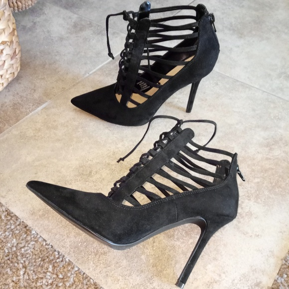 f288bc143cdb eva   zoe Shoes - Sexy caged lace up pointy stiletto heel booties